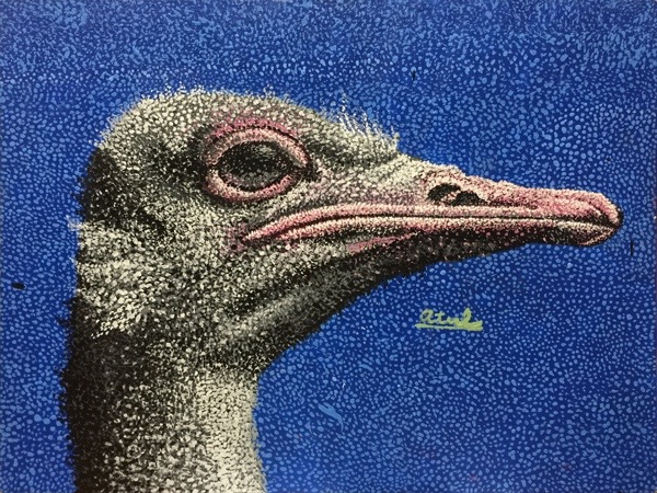 Atul - Ostrich painting in acrylic paint at Oam Studios Art School. Pointillist painting created over 6 months time.