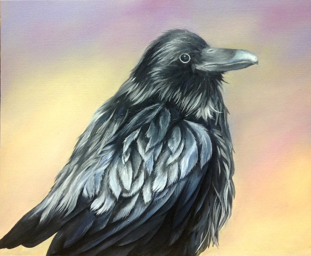 Paige Guzi, Raven Crowing. Oil painting created at Oam Studios Art Academy of Pleasanton California.